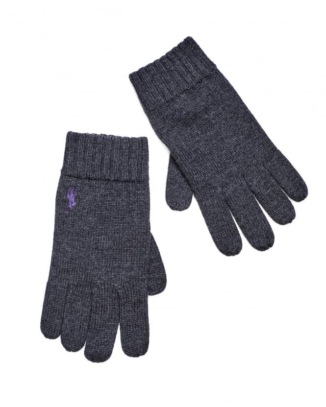 Ralph Lauren Mens Charcoal Grey Ribbed Wool Gloves
