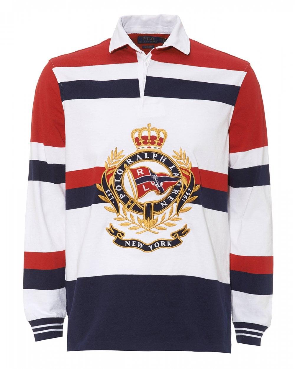 42a48c696a1 Ralph Lauren Mens Crest Rugby Striped Polo Shirt