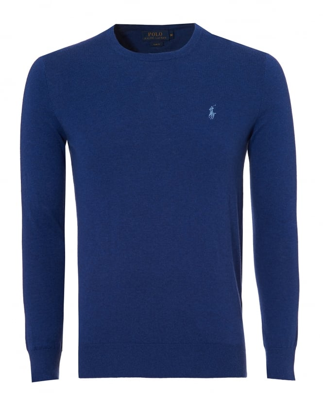 Ralph Lauren Mens Crew Neck Jumper, Cotton Cashmere Blue Sweater