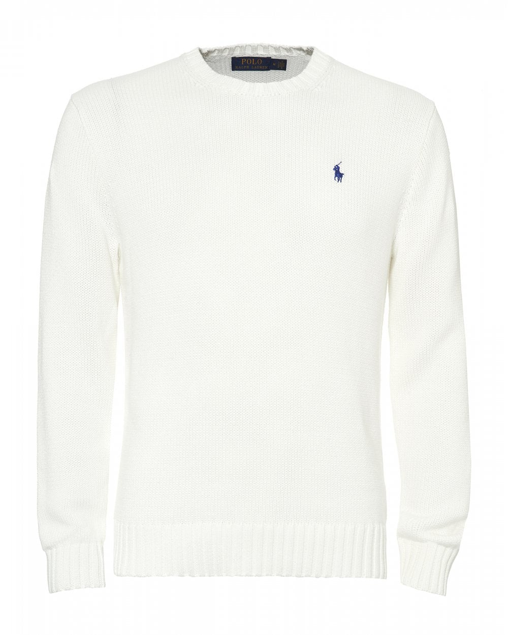 e9b33fc54c75 Ralph Lauren Mens Crew Neck Jumper, White Sweater