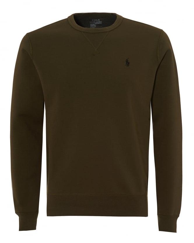 Repertoire Fashion Ralph Lauren Mens Crew Neck Sweatshirt, Olive Green Jumper