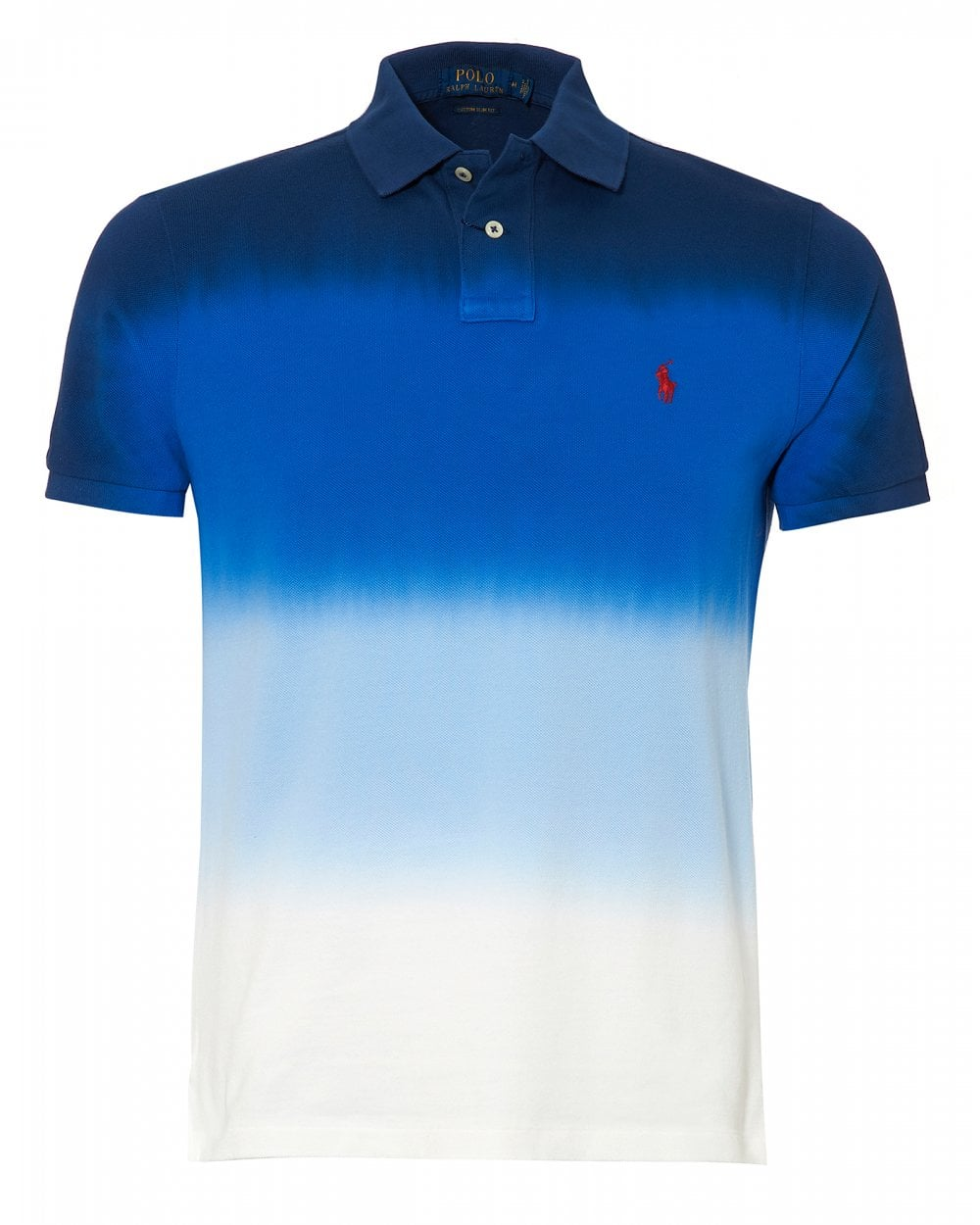 420e7a50 Ralph Lauren Mens Graduated Dip Dye Polo Shirt, Blue White Polo