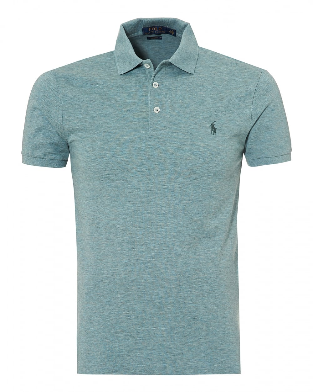 Mens Grey Green Plain Mesh Polo, Stretch Polo Shirt