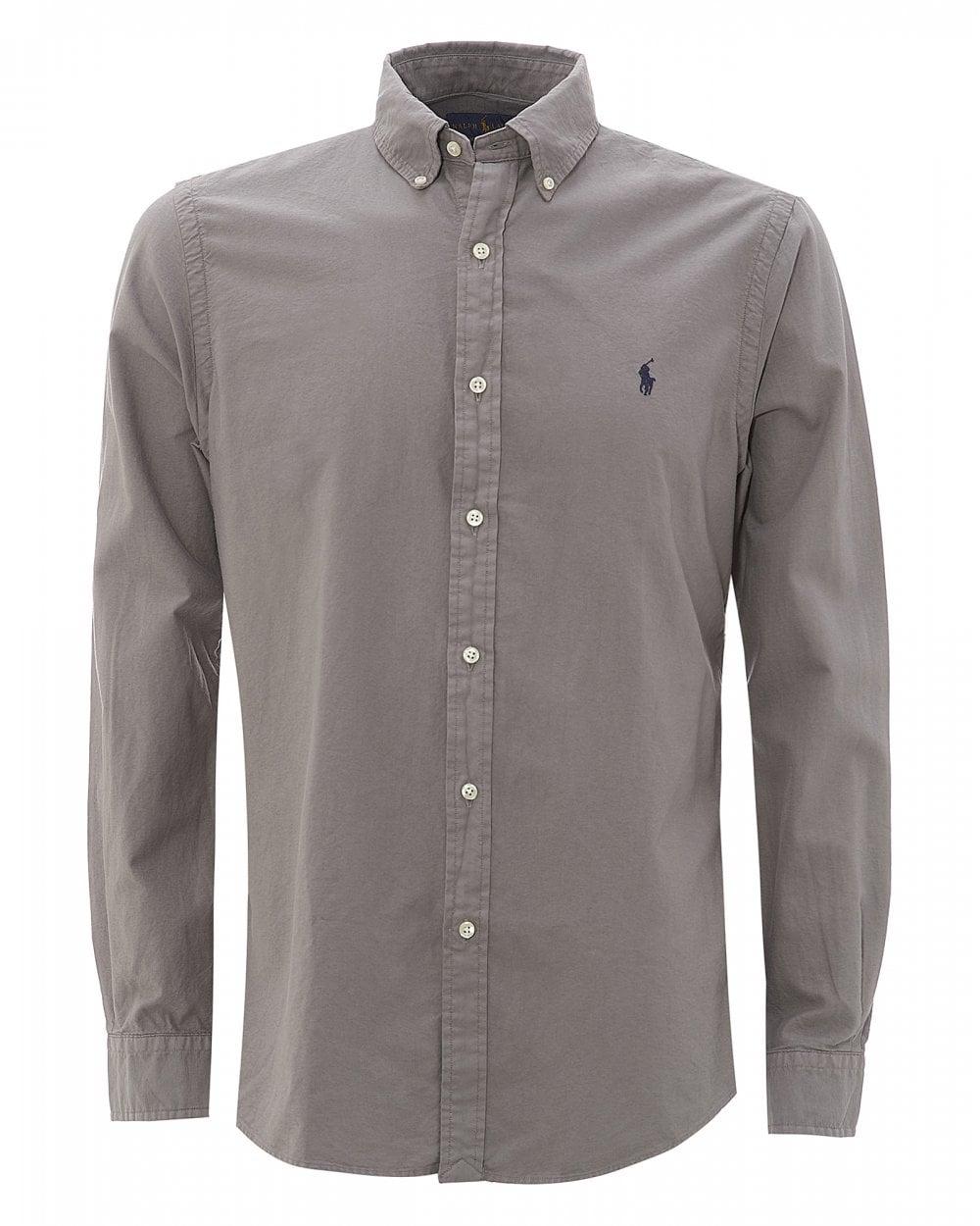 0c7e94e6 Mens Grey Slim Fit Button-Down Shirt