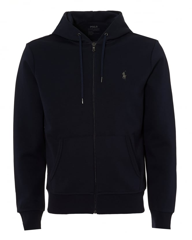 Ralph Lauren Mens Hooded Navy Blue Sweatshirt, Cotton Zip Up Hoodie