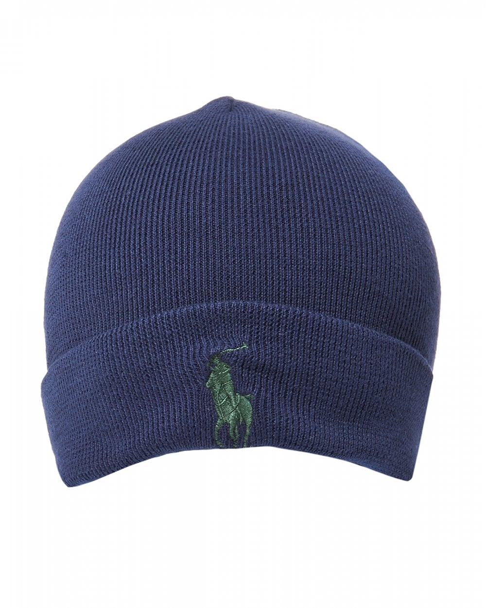 Ralph Lauren Mens Large Logo Hunter Navy Blue Beanie Hat 2e950990622