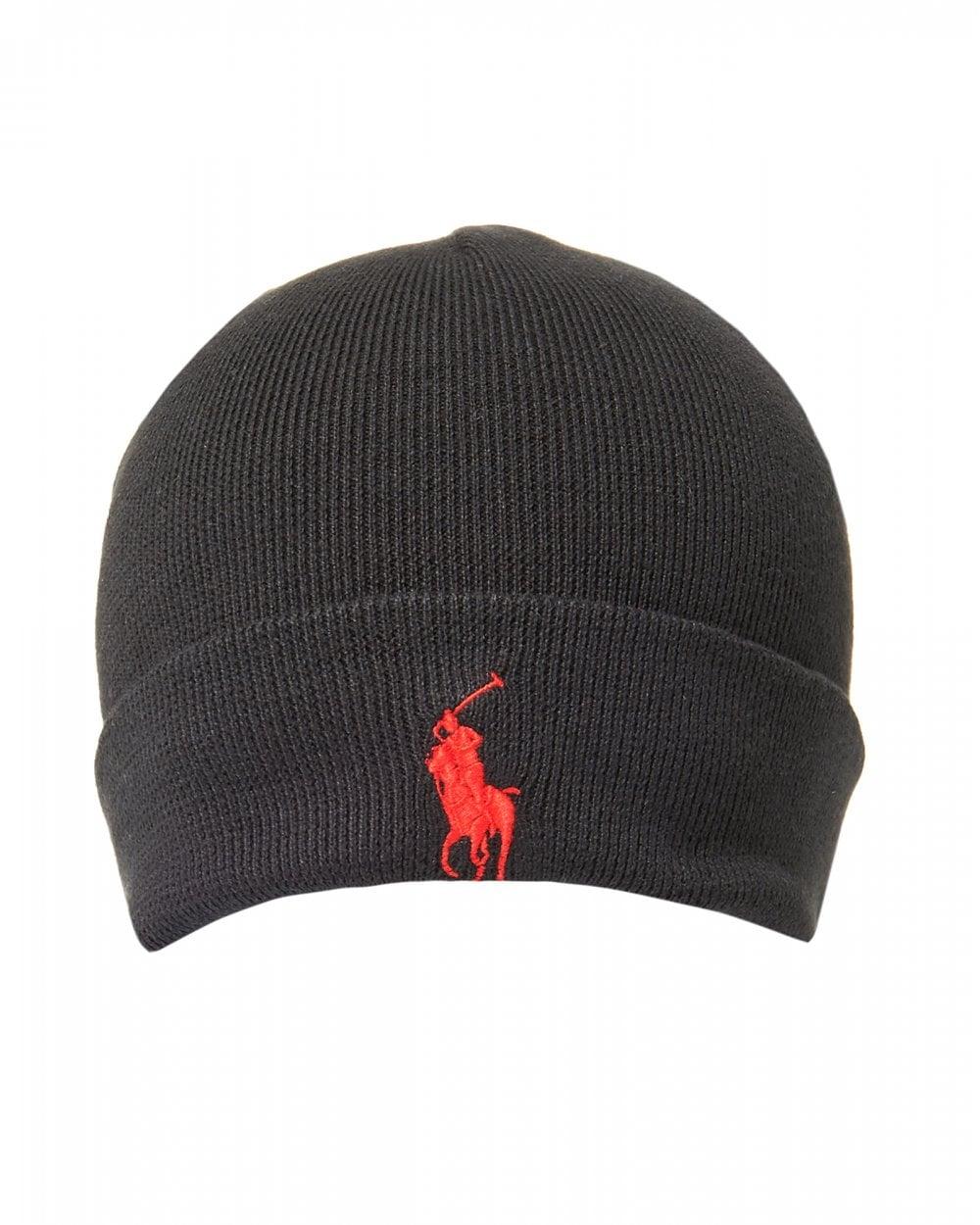 Ralph Lauren Mens Large Logo Polo Black Beanie Hat 7e68e8aab65
