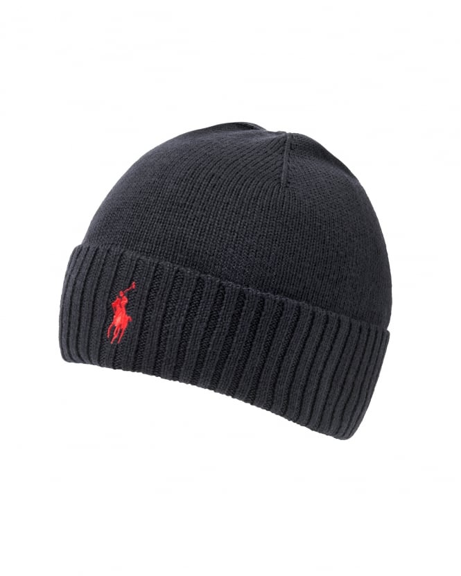 Ralph Lauren Mens Logo Beanie, Black Ribbed Hat