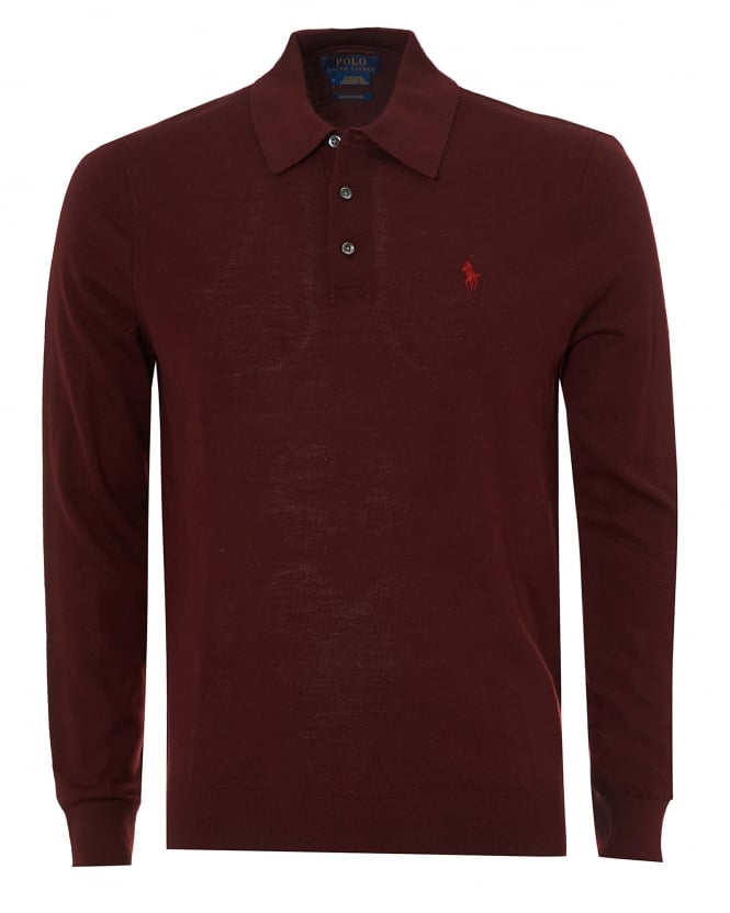 Ralph Lauren Mens Long Sleeve Merino Polo, Burgundy Polo Shirt