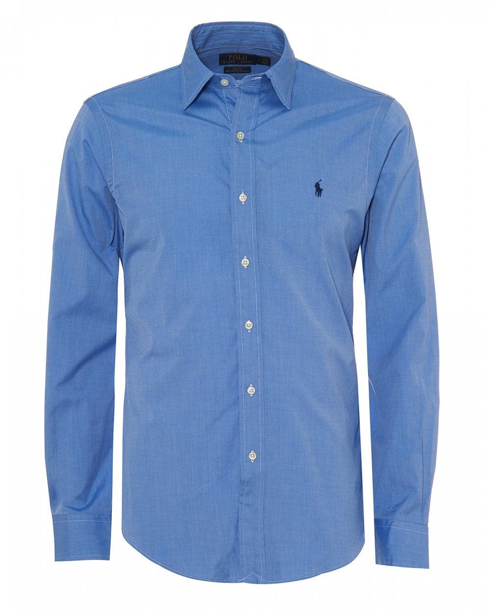 Ralph Lauren Mens Luxury Oxford Shirt Blue End On End Slim Fit Shirt