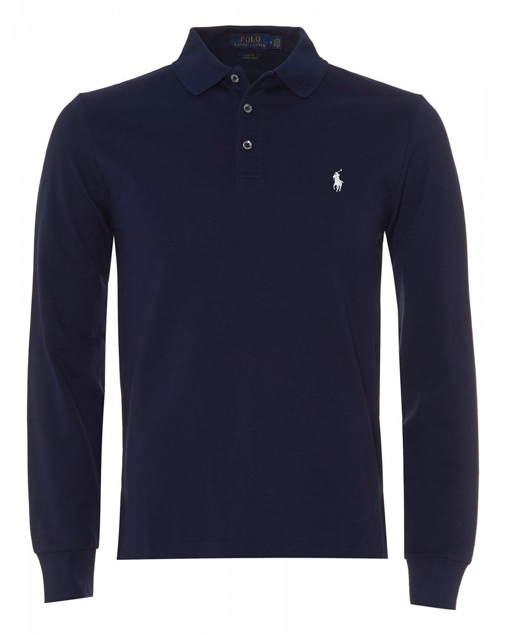 e0745098df Ralph Lauren Mens Mesh Polo Shirt, Navy Blue Slim Fit Polo