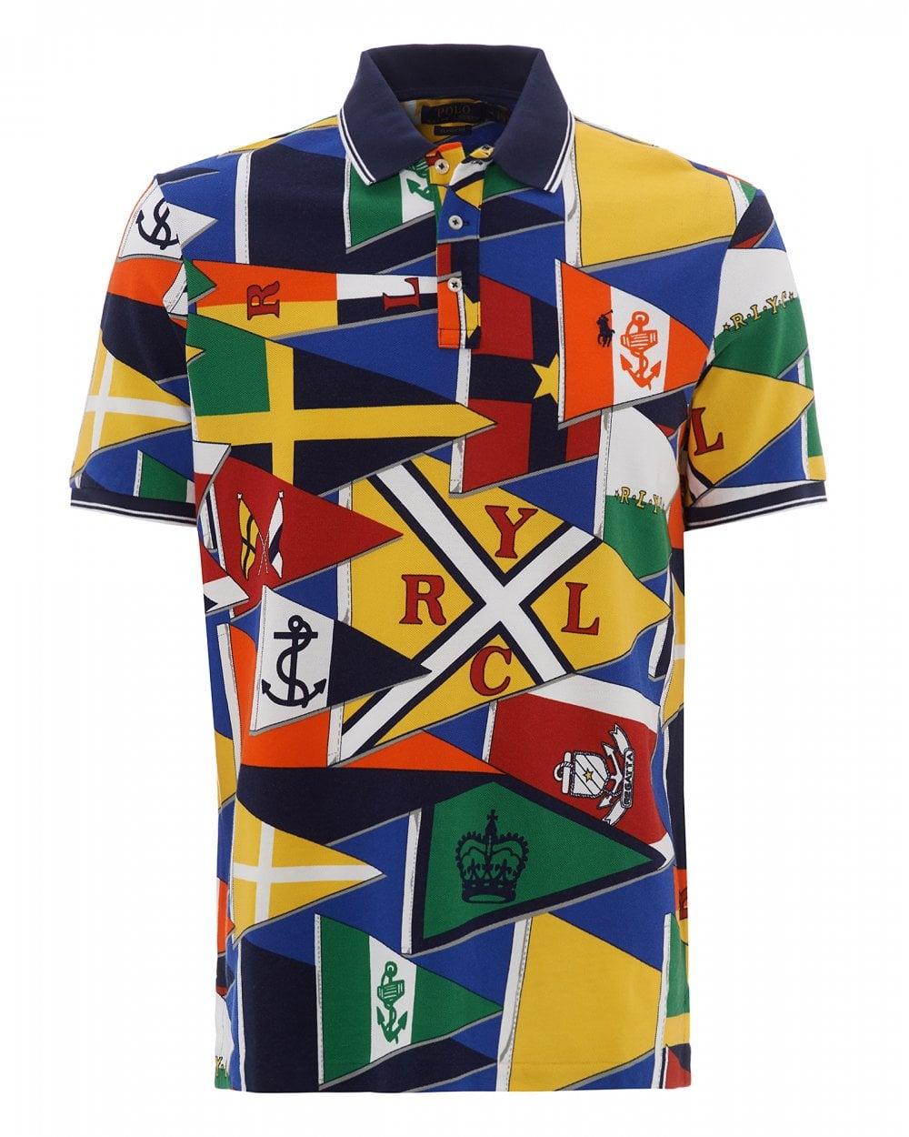 Mens Multi Coloured All Over Burgee Flag Polo Shirt