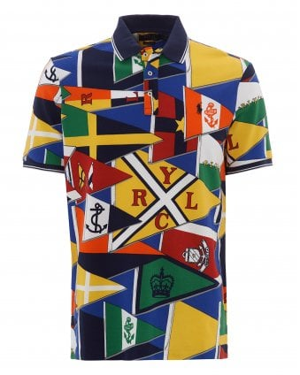 1f57e7443b7 Mens Multi-Coloured All-Over Burgee Flag Polo Shirt SALE · Ralph Lauren ...
