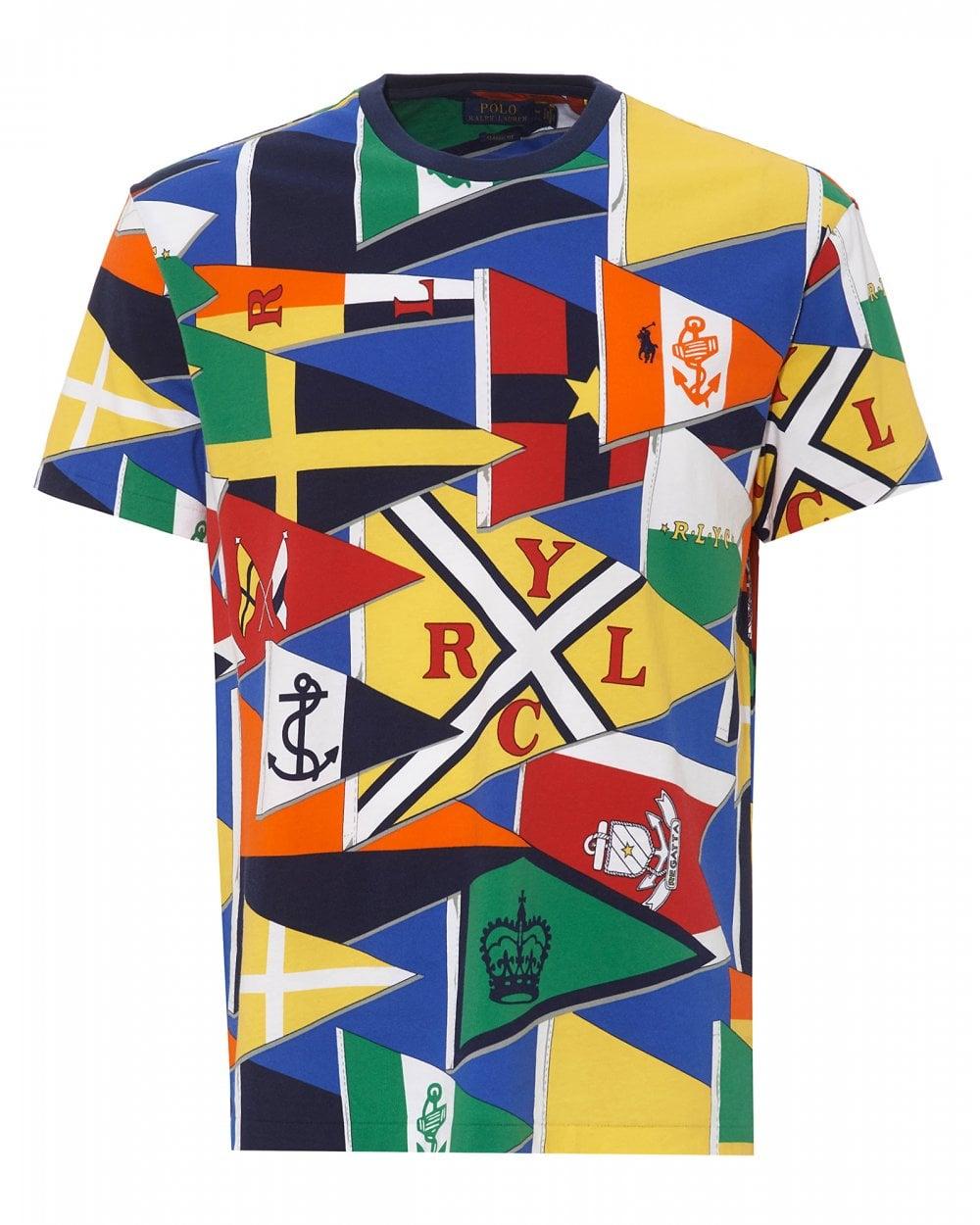 f316ca22d Mens Multicoloured Burgee Flag T-Shirt, Classic Fit Crewneck Tee