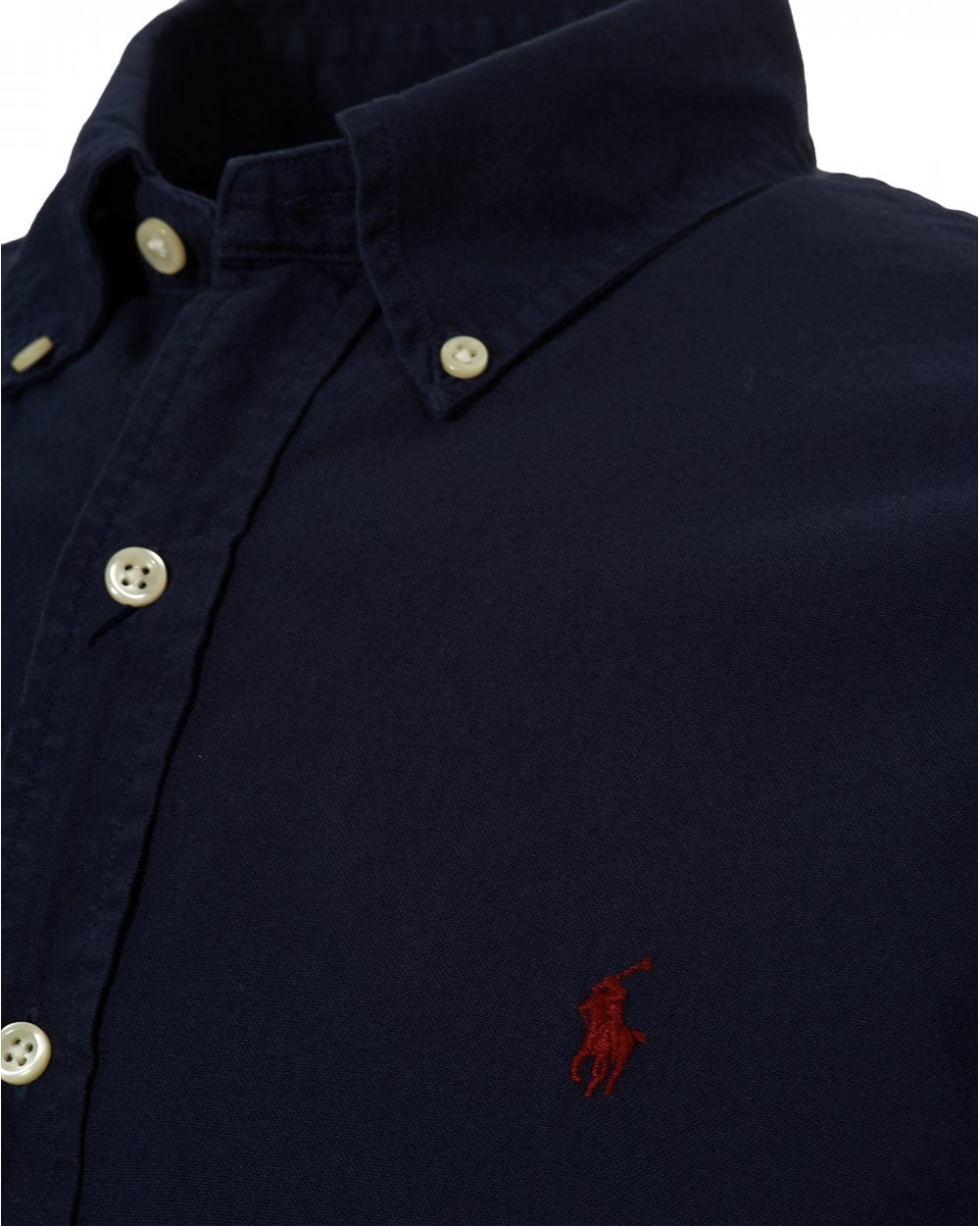 293fd60d211 Ralph Lauren Mens Oxford Button Down Slim Fit Navy Blue Shirt