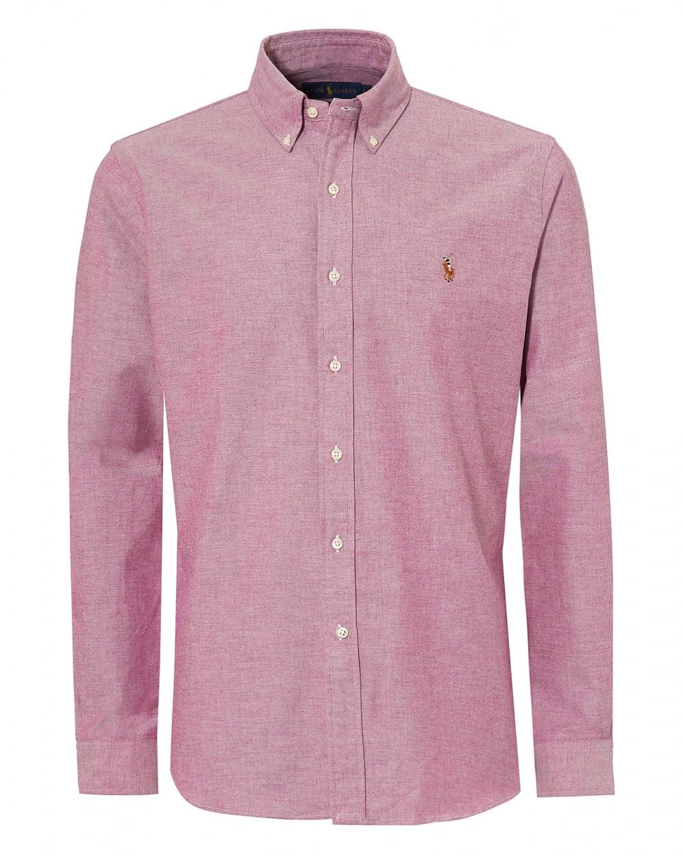 Ralph Lauren Mens Oxford Stretch Slim Fit Pink Shirt