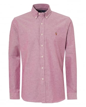 Mens Oxford Stretch Slim Fit Pink Shirt