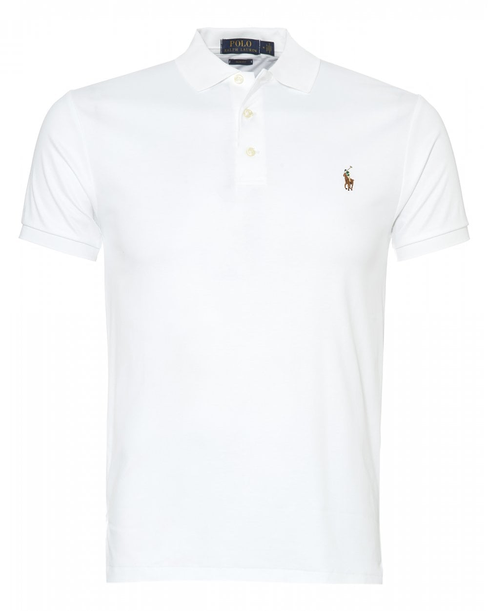 a916863c Ralph Lauren Mens Pima Cotton Polo, Slim Fit White Polo Shirt
