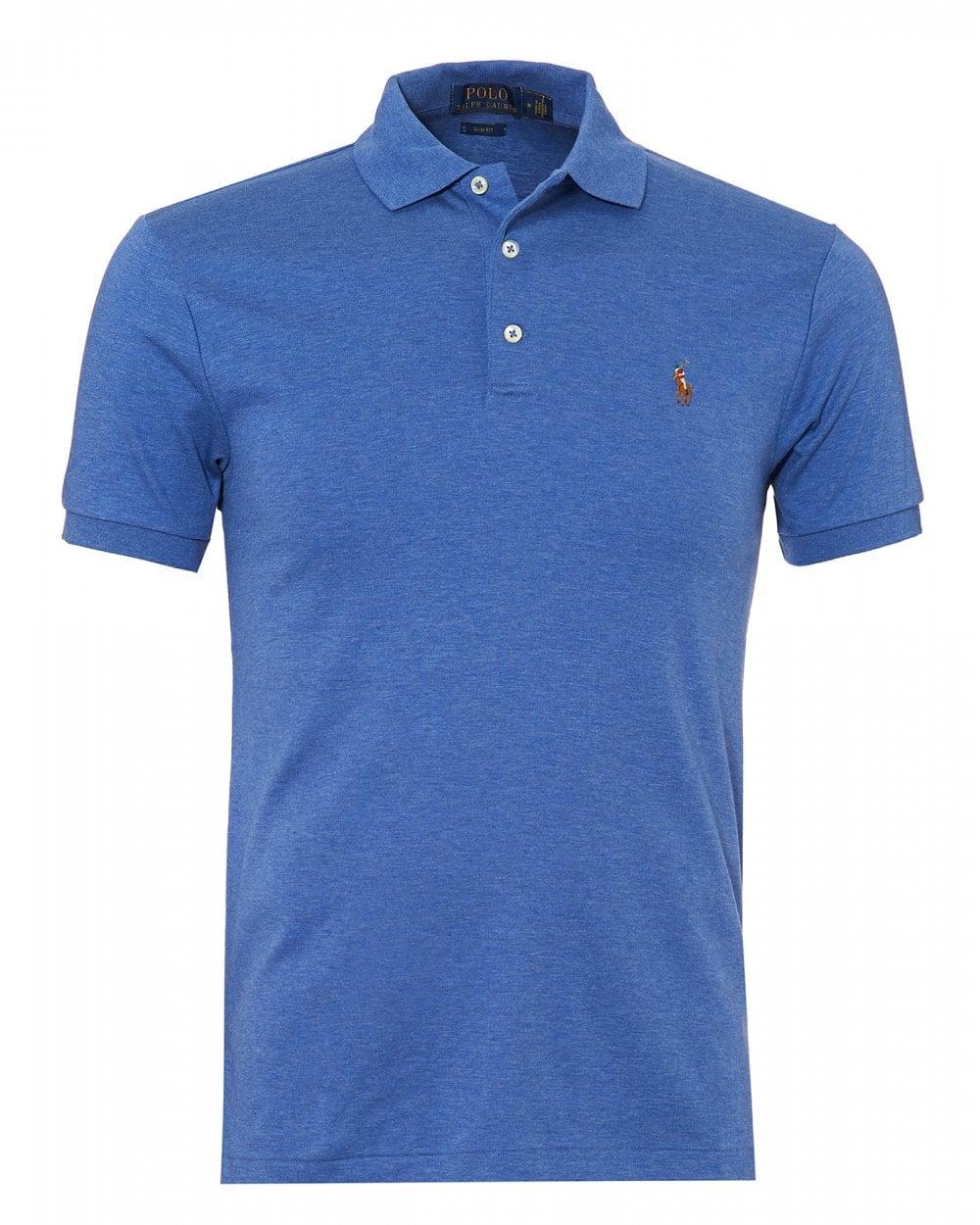 ralph lauren mens pima polo shirt slim fit blue heather polo. Black Bedroom Furniture Sets. Home Design Ideas