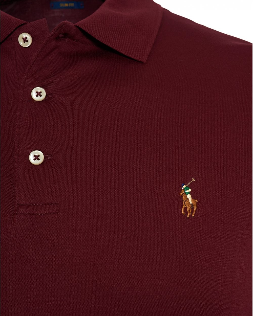 b65c96d5 Ralph Lauren Mens Pima Polo Shirt, Slim Fit Wine Red Polo