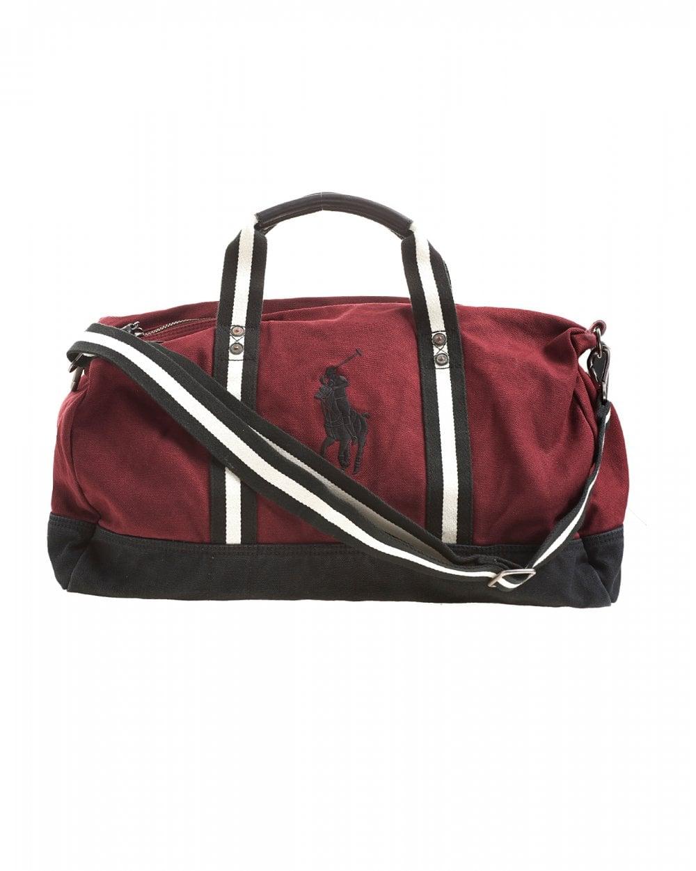 6131e8e955 Ralph Lauren Mens Polo Player Striped Wine Red Gym Bag
