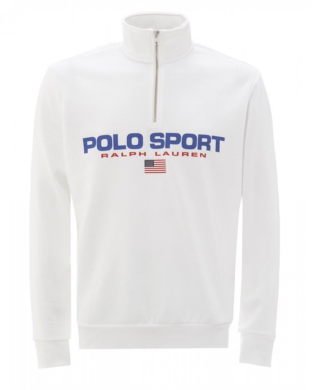 Mens Polo Sport Fleece Sweatshirt, White Sweat
