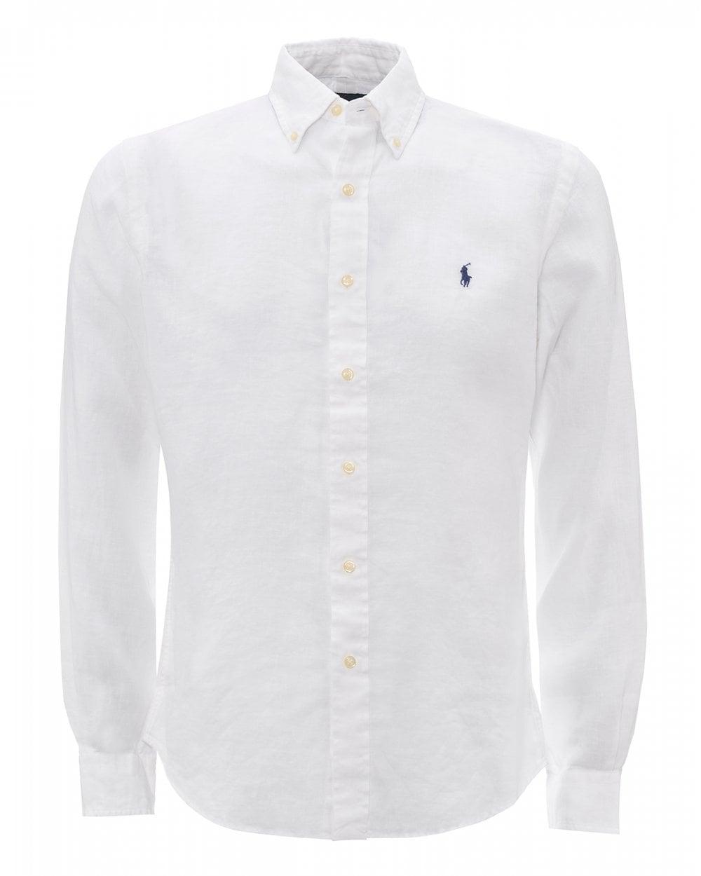 d52f3df8d Ralph Lauren Mens Pure White Slim Fit Linen Shirt