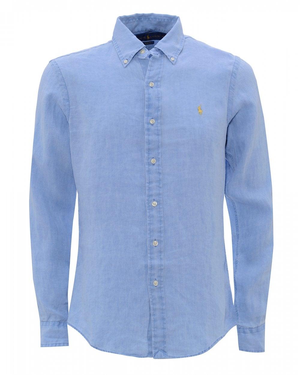 3722fbf7 Ralph Lauren Mens Riviera Blue Slim Fit Linen Shirt