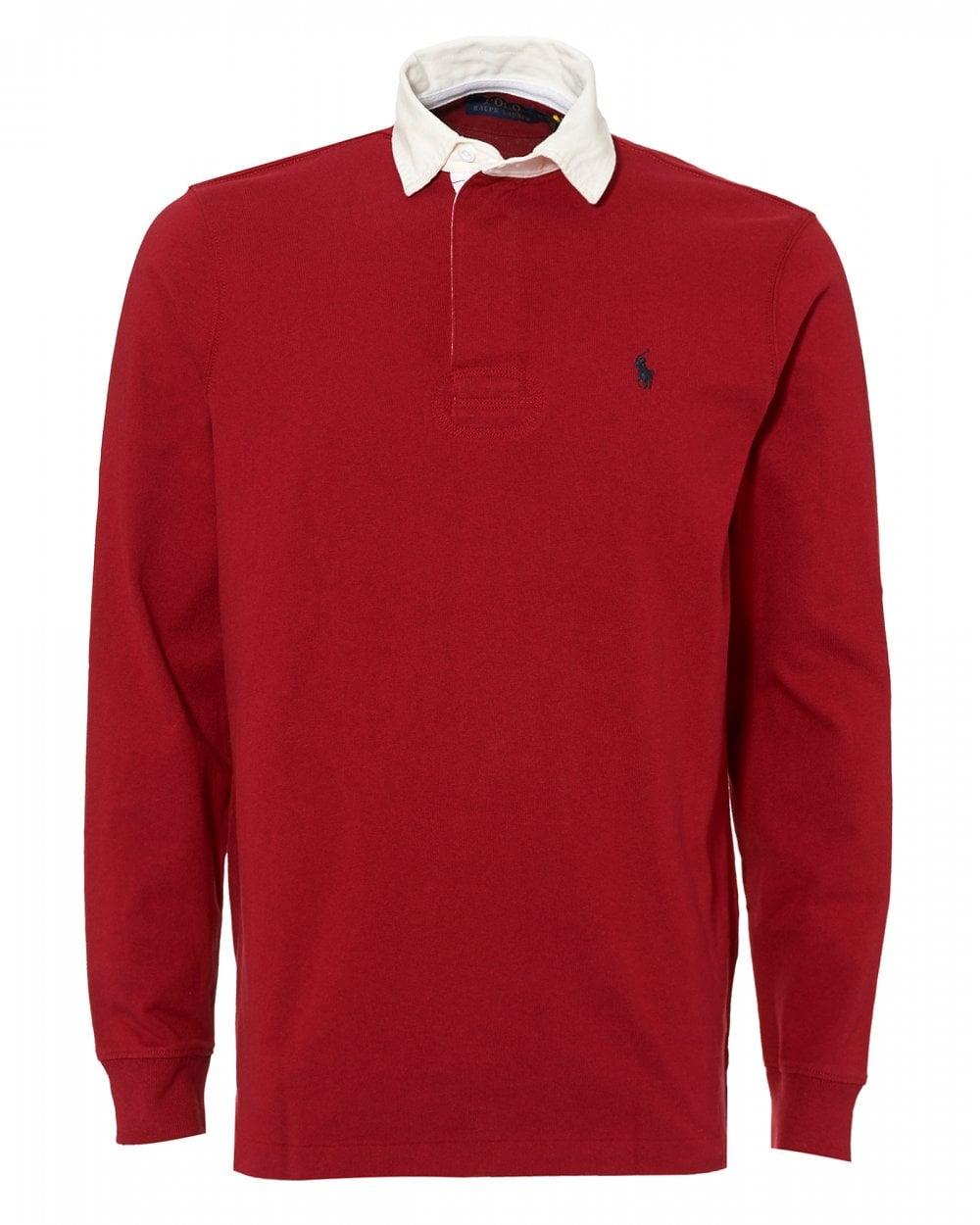 cd23d44a87e Ralph Lauren Mens Rugby Shirt, Cotton Jersey Eaton Red Polo