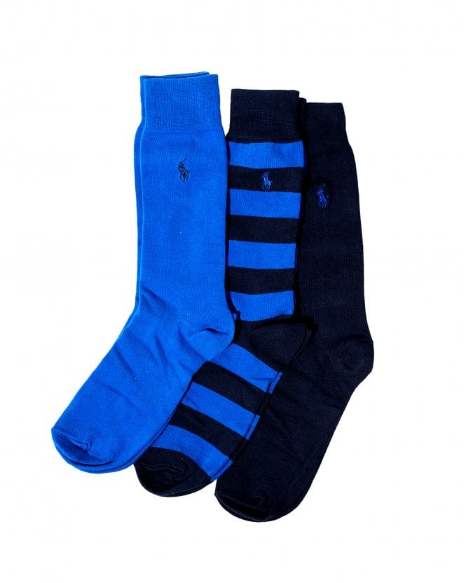 Polo Ralph Lauren Mens Striped Royal Navy Cotton Socks