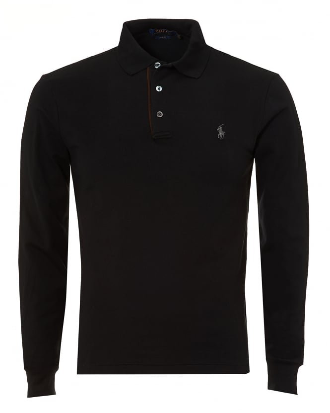Ralph Lauren Mens Tipped Polo Shirt, Long Sleeved Black Polo
