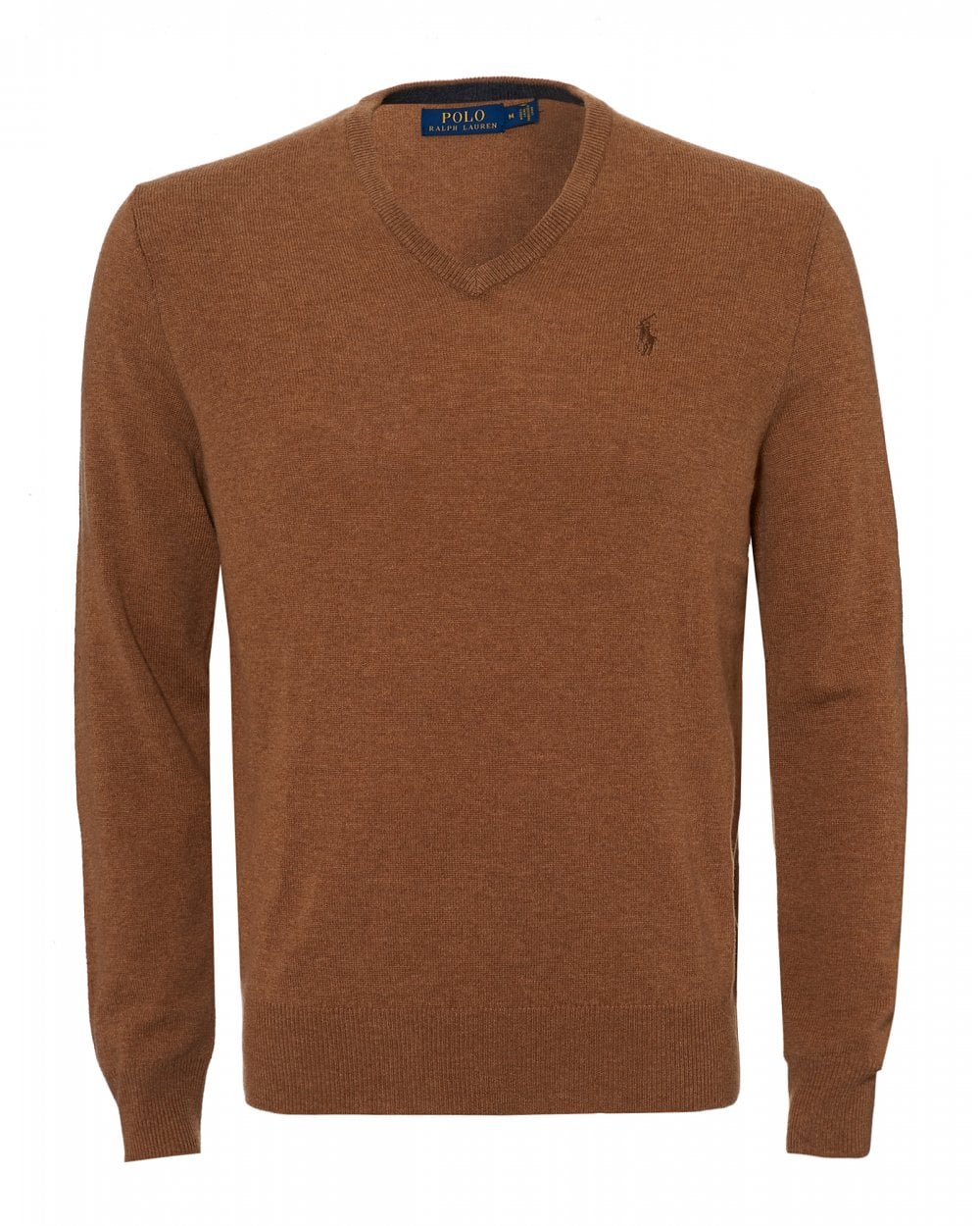 aa48ff737c Mens V Neck Jumper, Brown Heather Lambswool Knit