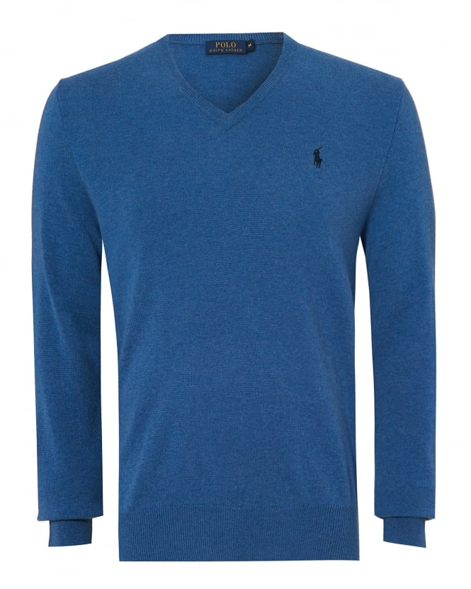 Ralph Lauren Mens V Neck Jumper, Merino Wool Blue Sweater