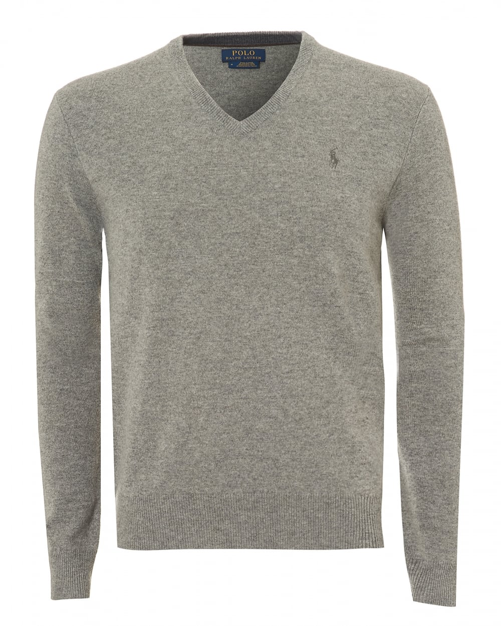 7cc91985b4 Mens V-Neck Knit Jumper, Oatmeal Grey Lambswool Sweater