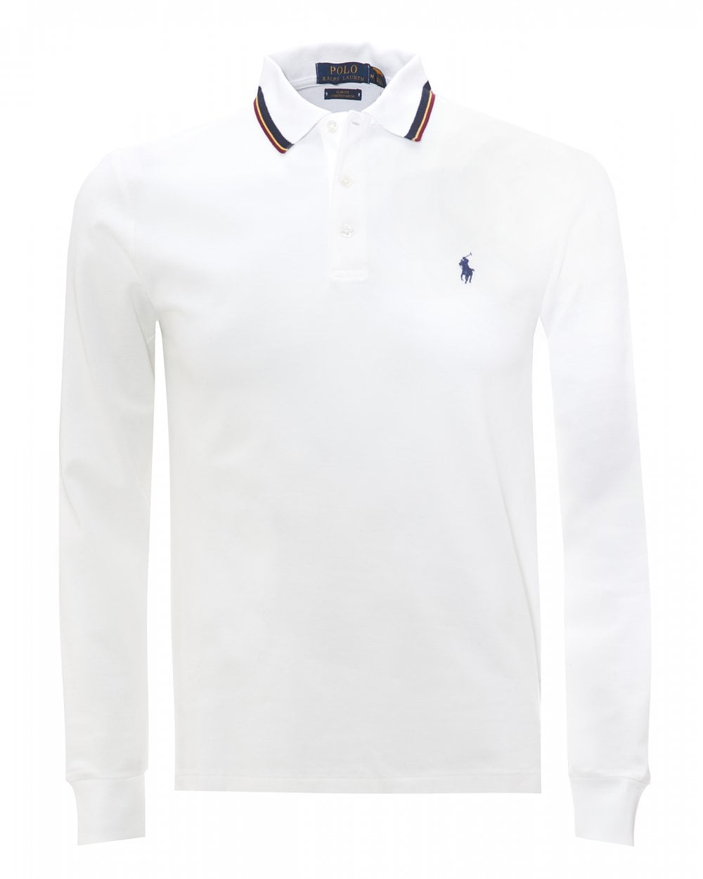 Mens White Tipped Slim Fit Stretch Polo Shirt