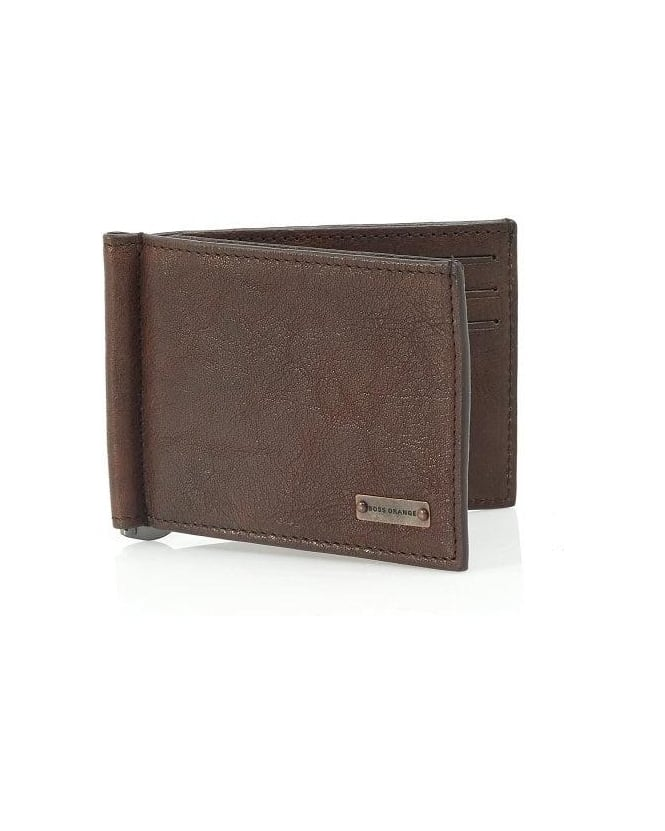 Hugo Boss Orange 'Ramata' Chocolate Brown Card Clip Wallet