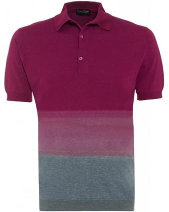 Raspberry 'Tiller' Dip Dye Slim Fit Polo Shirt