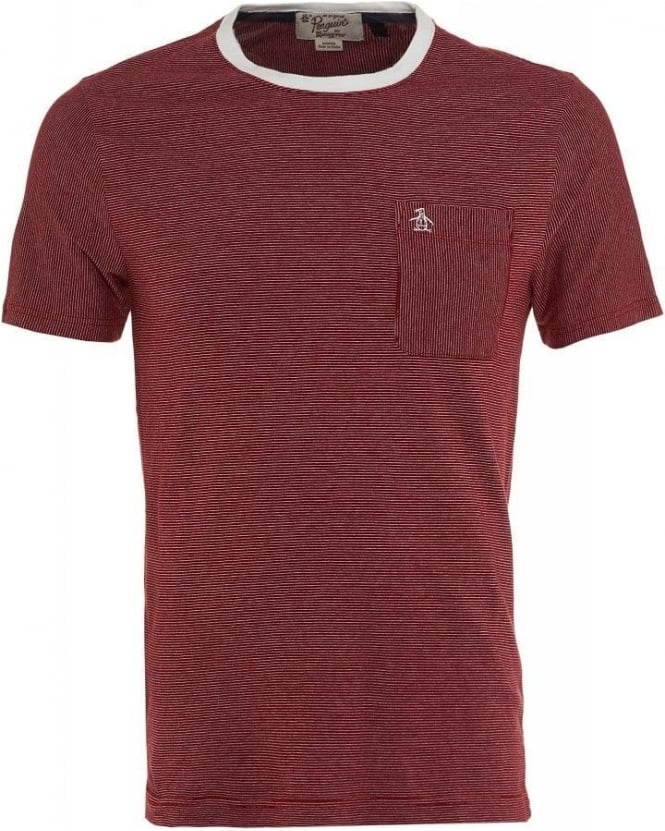Original Penguin Red and White Fine Striped Regular Fit T-Shirt