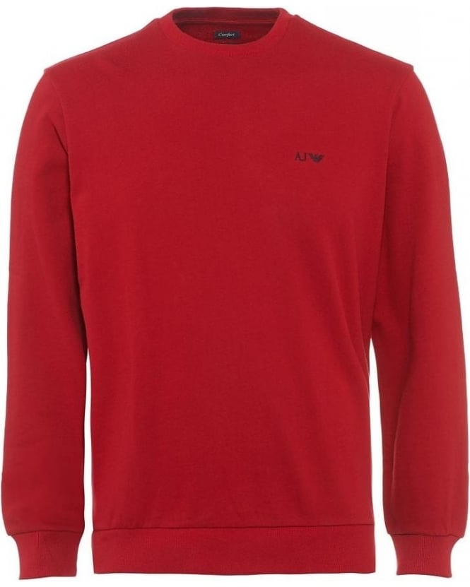 Armani Jeans Red Basic Comfort Fit Sweatshirt