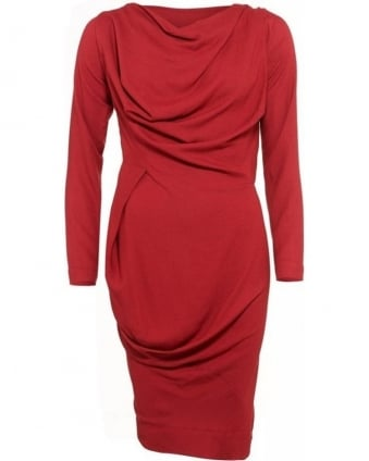 Red Draped, Long Sleeve Ruched Crepe Dress