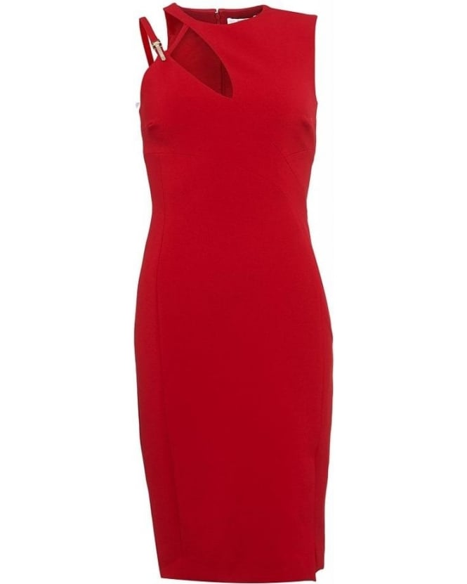 Versace Collection Red Fitted Shift Dress, Sleeveless Cut Out Buckle Dress