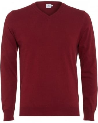 Red Long Sleeve Regular Fit V-Neck Jumper