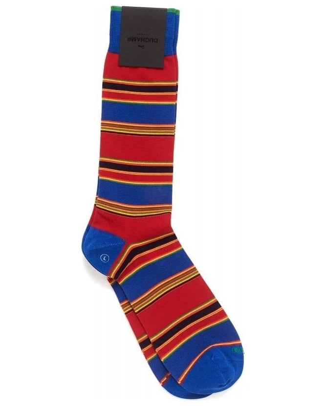 Duchamp Red Multicoloured Broadstripe Socks