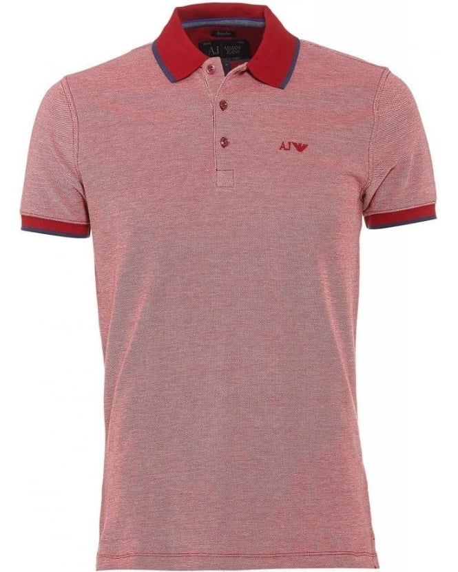 Armani Jeans Red Polo Contrast Tipped Polo Shirt