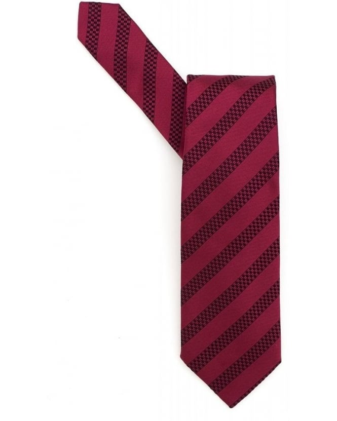 Hugo Boss Black Red Textured Stripe Silk Tie