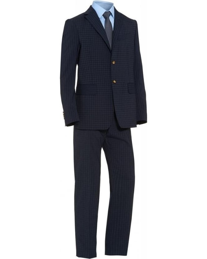 Vivienne Westwood Man Regular Fit Navy Check Print 'Henry' Suit
