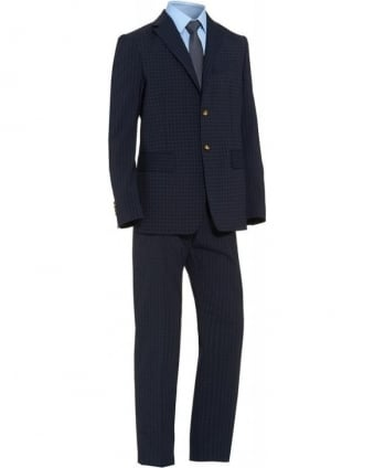 Regular Fit Navy Check Print 'Henry' Suit