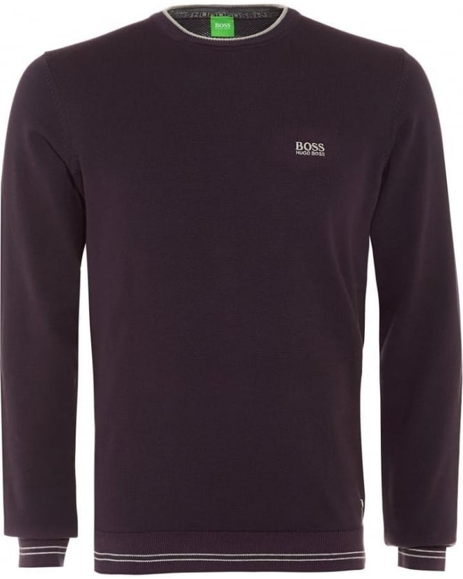 Hugo Boss Green Rime_PS16 Mens Sweater, Aubergine Purple Piped Knit Jumper