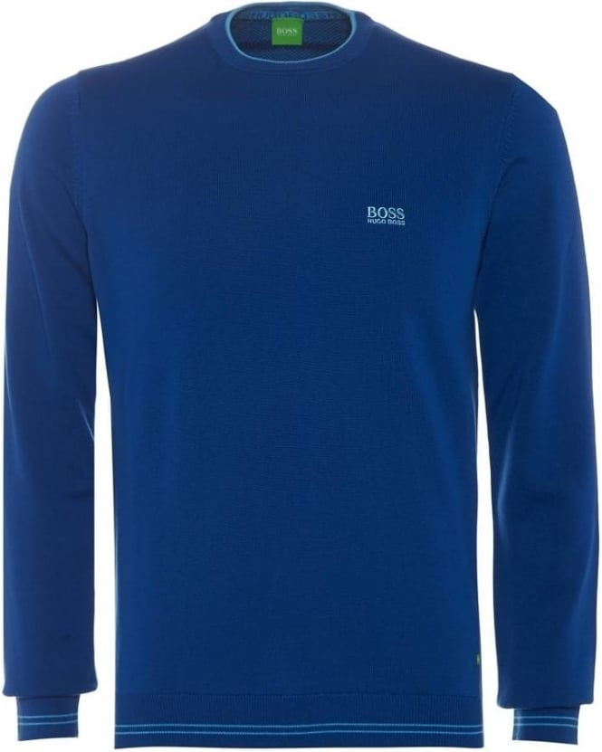 Hugo Boss Green Rime_PS16 Mens Sweater, Blue Piped Knit Jumper
