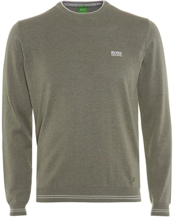 Hugo Boss Green Rime_PS16 Mens Sweater, Light Grey Piped Knit Jumper